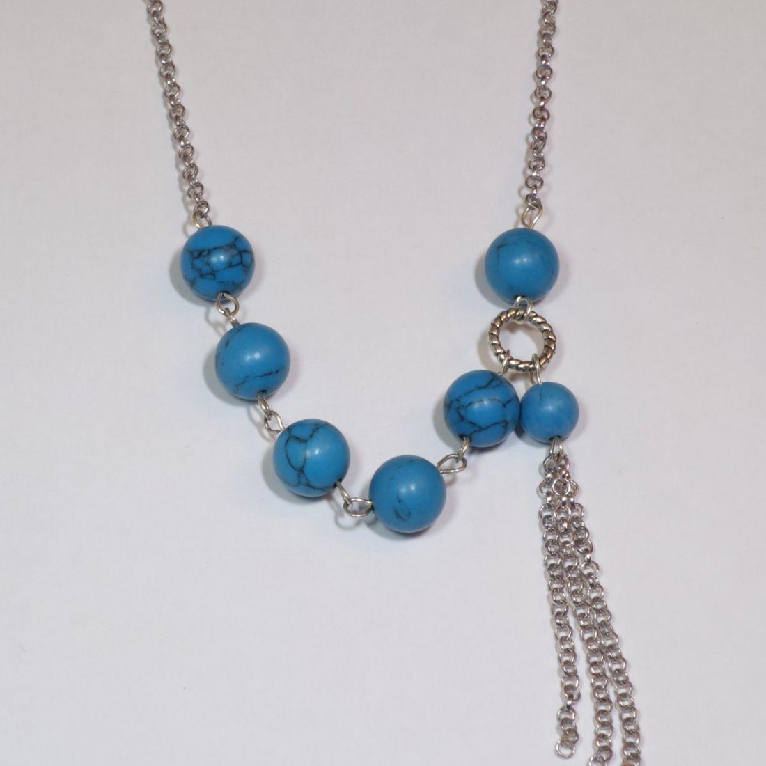 Türkinit nyaklánc ezüst színű lánccal