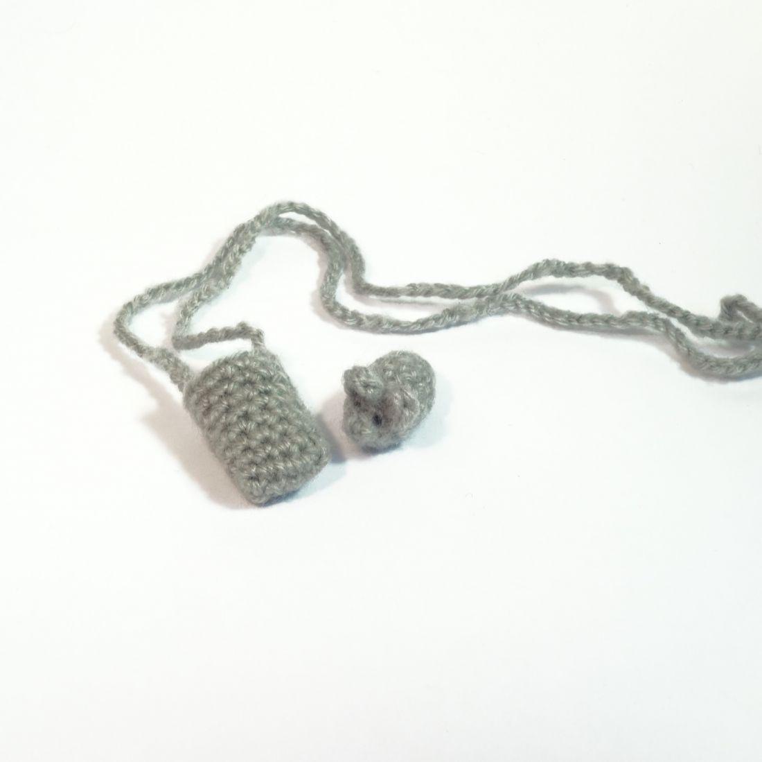 Mini egér zsákban, nyakba akasztható